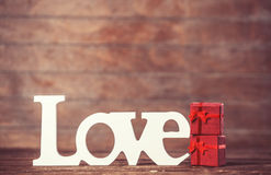 Little gift and word Love Stock Photography