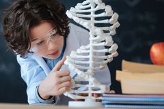 Little gifted researcher studying genetic code in the laboratory. Exploring world of microbiology . Smart enthusiastic little researcher standing in the Stock Image