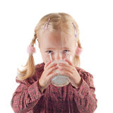 Little gil drinking milk Royalty Free Stock Image