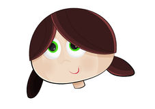 Little Girl. Vector illustration of a little brunette girl head with tender green eyes, isolated from the background Royalty Free Stock Images