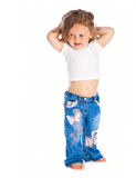 Little girl. Little happy girl. Isolated on white background Royalty Free Stock Photo