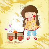 Little girl. Little cute girl with toy Royalty Free Stock Photos