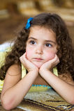 Little girl. Look attentively at a friend Royalty Free Stock Images