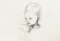 Little girl. Pencil technique - baby-s portrait, hand made Royalty Free Stock Photography
