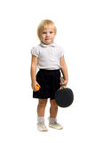 The little girl. The child plays table tennis,isolated on white Royalty Free Stock Images