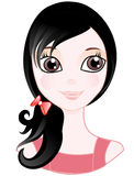 Little girl. In pink dress. A benevolent look. Black hair Stock Images