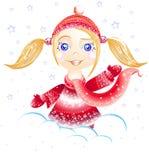 Little girl. Good mornimg. Little girl. Winter come. Happy holiday Stock Image