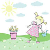 Little girl. A little Girl with a watering can in a sunny sommer day Stock Photography