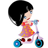 Little girl. And her scooter Royalty Free Stock Photo