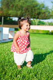 The little girl. Is played the nature Royalty Free Stock Photography