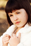 Little girl. 10-13 years old. Close up portrait royalty free stock image