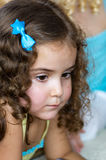 Little girl 2. Little girl look attentively at a friend Royalty Free Stock Photography