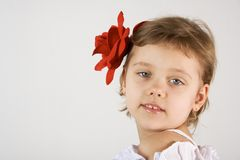 Little girl. Little smiling girl with red rouses in the hair Stock Photography