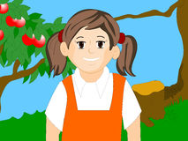 Little girl. Cartoon smiling face of little girl with colour background Royalty Free Stock Photos