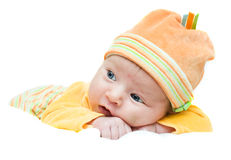 Little girl. On a white background isolated Royalty Free Stock Images