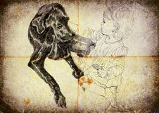 Little girl. Stroking big black dog Stock Photo