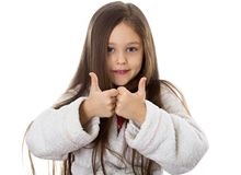 Little girl. Smiling little girl shows the finger Royalty Free Stock Photography