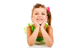 Little girl. On a white background royalty free stock photography