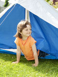 Little Girl 3 Years Old Coming Out From A Tent Stock Image