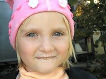 Little girl. After drinking milk stock photo