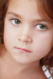 Little girl. Close-up portrait of little girl with green eyes Stock Photo