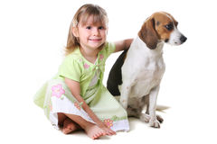 Little girl 4 years old and the dog Royalty Free Stock Photo