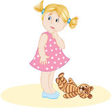 The little girl. In pink dress with toy Royalty Free Stock Photography