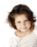 little girl 5 years isolated on a white backgrou Royalty Free Stock Photo