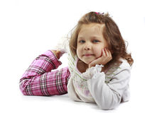 little girl 5 years isolated on a white backgroun Stock Photos