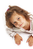 little girl 5 years isolated on a white backgroun Stock Photo