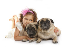 Little girl 5 years old and the dog isolated on a Royalty Free Stock Photos