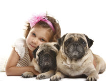 Little girl 5 years old and the dog isolated on a. White background Royalty Free Stock Image