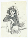 Little girl. Hand drawing picture with little girl Royalty Free Stock Images