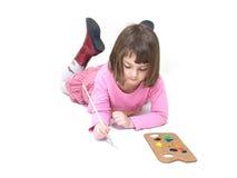 Little girl. Painting, isolation on white Stock Image