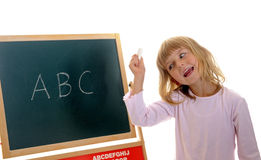 Little girl and ABC Stock Photo