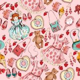 Little girl accessories seamless pattern Stock Photos