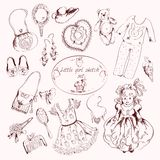 Little girl accessories set doodle sketch Stock Photo