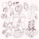 Little girl accessories set doodle sketch Stock Photo