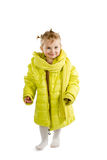 Little girl in adult jacket Royalty Free Stock Photo