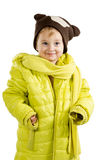 Little girl in adult jacket and hat Stock Image