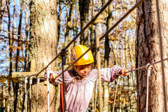 Little girl in the Adventure Park. Little girl is climbing in the adventure park Royalty Free Stock Image