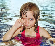 Little girl afraid of water. Little girl five years old learning to swim is afraid of water and have allergy on chlorine disinfection in water stock photos