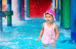 Little girl  afraid of water in aqua park Stock Images