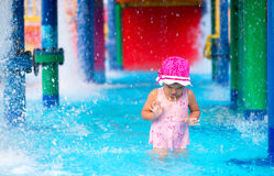Little girl  afraid of water in aqua park Stock Photos
