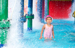 Little girl  afraid of water in aqua park Royalty Free Stock Image
