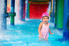 Little girl  afraid of water in aqua park Stock Photography