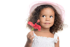 Little girl with an afro hairstyle holding a red flower. With a smile (isolated on white Royalty Free Stock Photo
