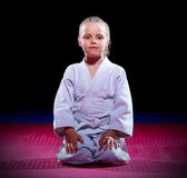 Little girl aikido fighter Royalty Free Stock Photography