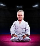 Little girl aikido fighter Royalty Free Stock Photos