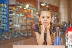Little girl in airport Stock Photography